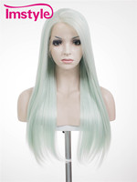Imstyle Straight Synthetic Mint green 24 Inches long lace front wig
