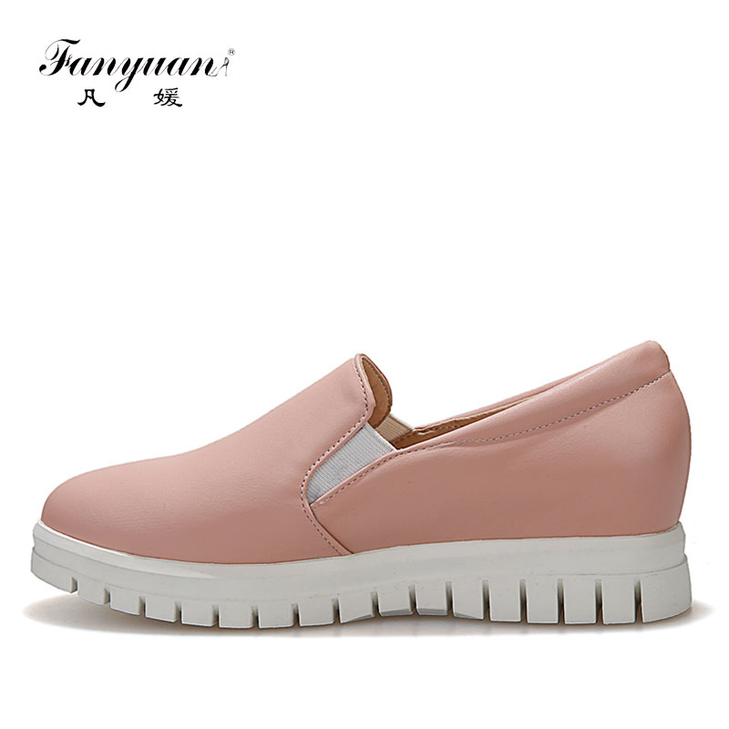 Fanyuan Loafer Flats woman shoes 2018 spring Rome slip on girls Leisure Outdoor Platform shoes Plus size solid ladies footwear