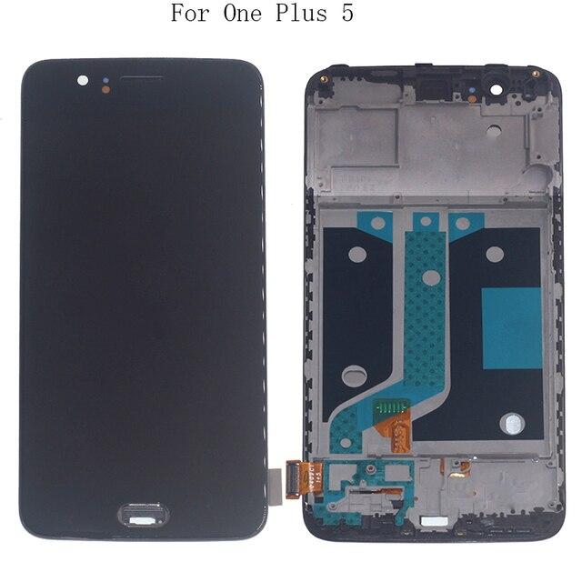 "5.5 ""AMOLED תצוגה עבור Oneplus 5 A5000 OLED תצוגת LCD + מסגרת מסך מגע digitizer החלפת Oneplus 5 a5000 ערכת תיקון"