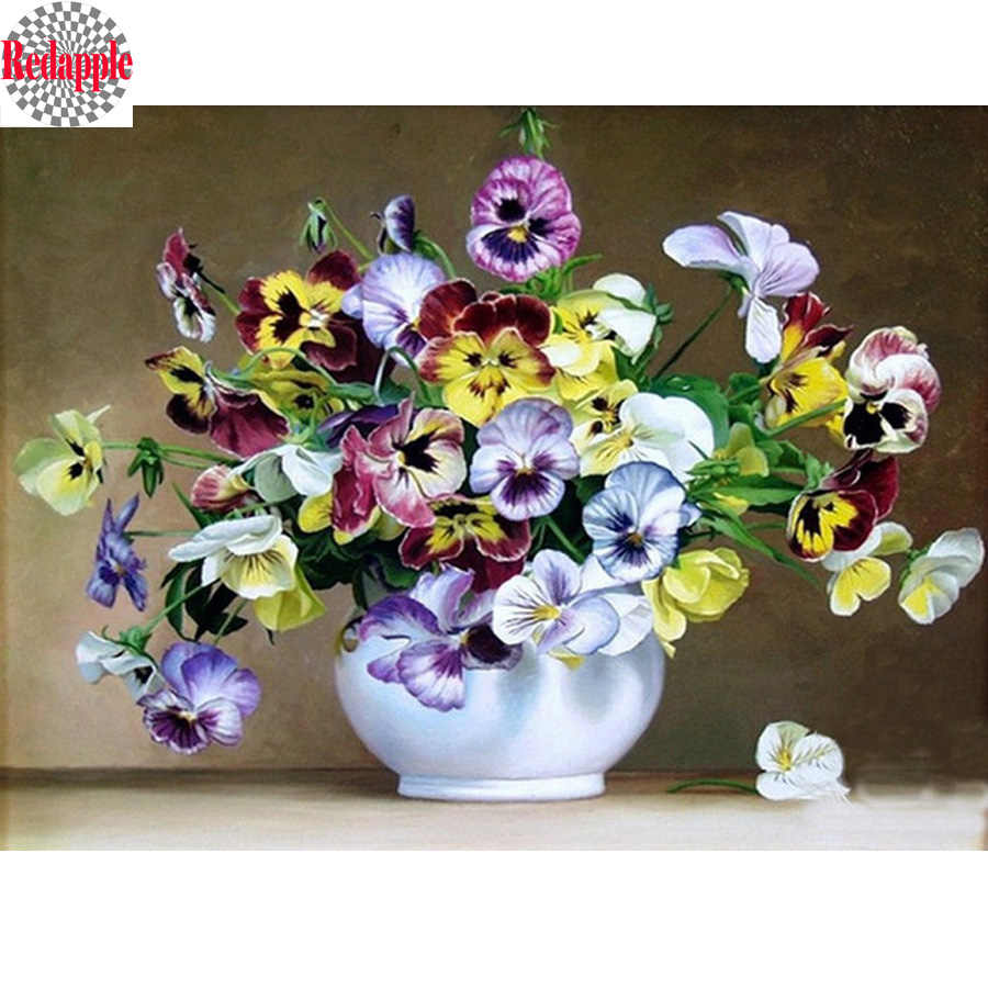 Wall Sticker Diy 5D diamond painting cross stitch flowers Full Diamond embroidery Pansy icons diamond mosaic picture rhinestones