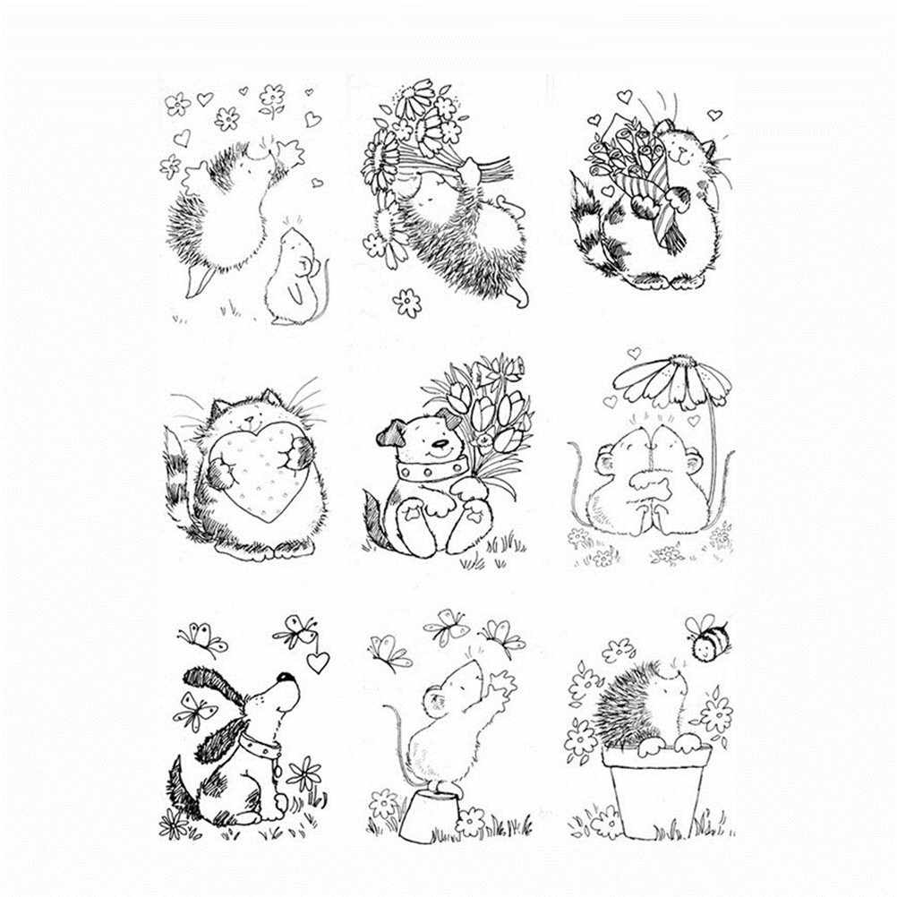 Cute Hedgehog Cat Dog Mouse Transparent Clear Silicone Stamps for DIY Scrapbooking/Card Making/Kids Fun Decoration Supplies