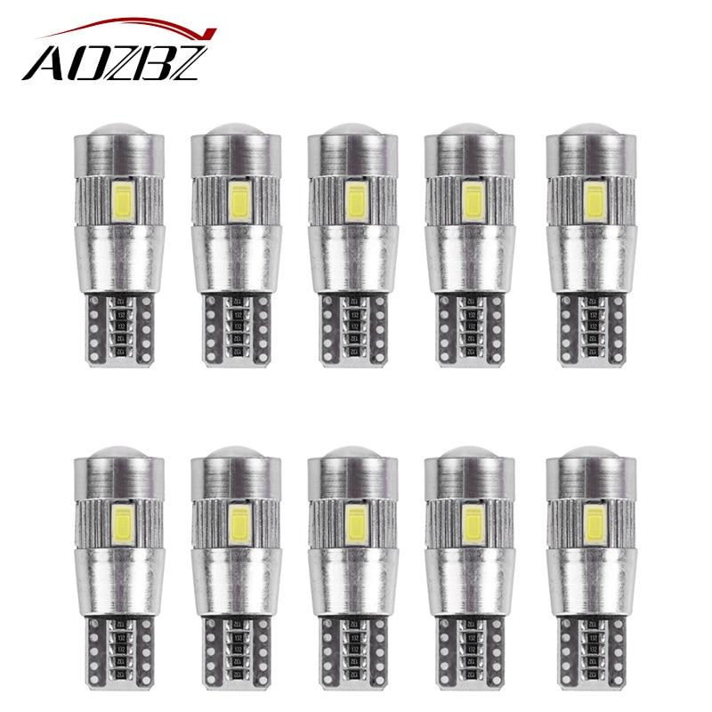AOZBZ 10PCS License Plate Light T10 W5W 168 194 Wedge