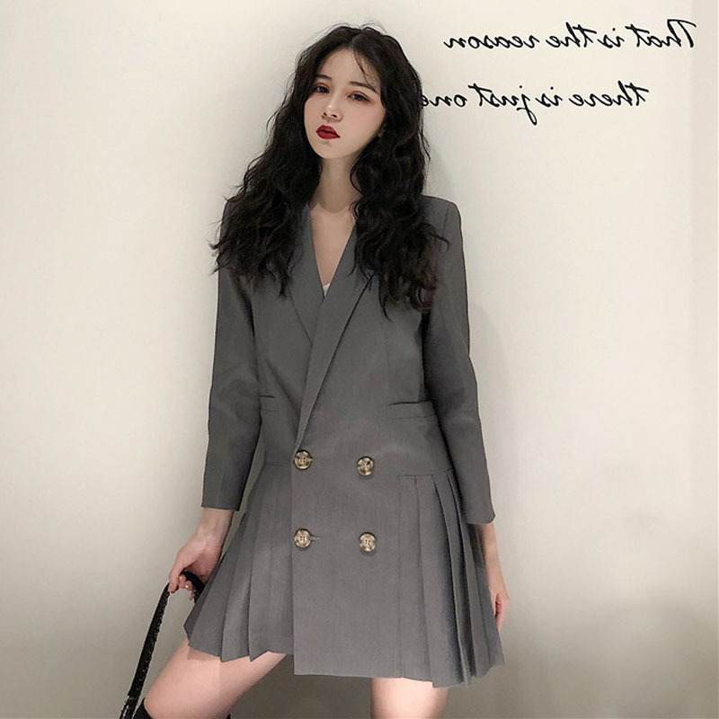 Spring Suit Women Long Blazer Casual Pocket Double Breasted Jackets Elegant Long Sleeve Blazers Outerwear