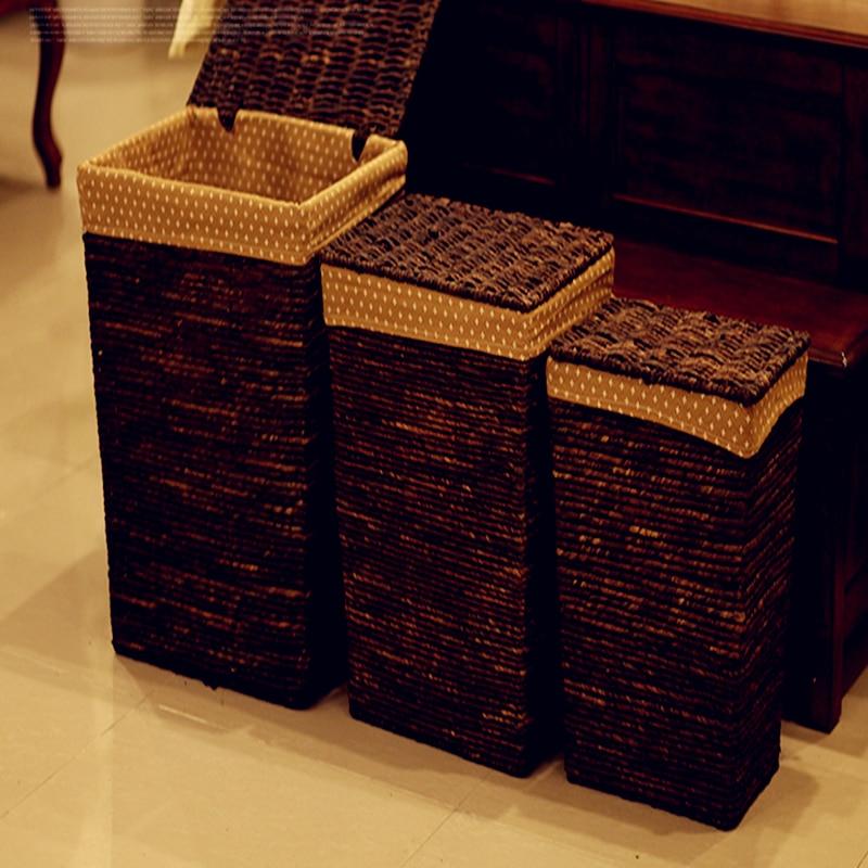 2017 Top Fashion Cane Eco-friendly Storage Bins Wine Picnic Basket Dirty Clothes Rattan Large Storage Laundry Basket