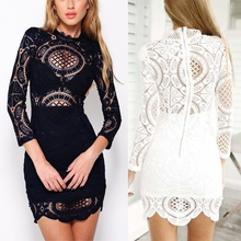 Sexy Club Dress Vestidos Party Dresses White Black Floral Embroidery Bodycon Celebrity Bandage Sleeve Slim Hollow Lace Dress