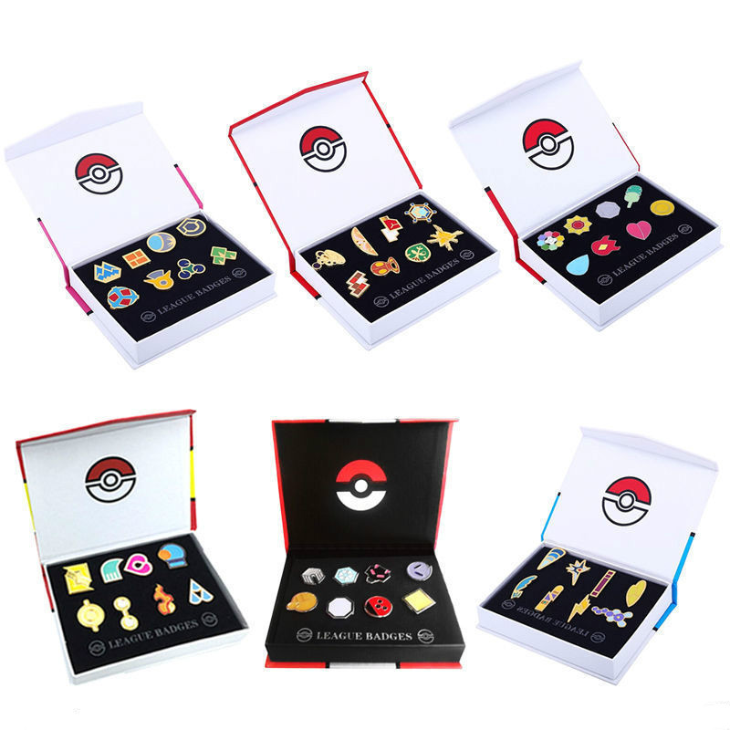 Anime Pokemon Gym Badges Cosplay Game Accessories Props Pins Brooches New in Box Set Gift