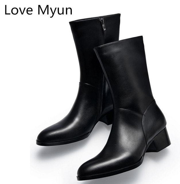 Autumn winter new mens genuine leather boots high heels fashion pointed toe zip inside plush warm men boots cowboy military boot