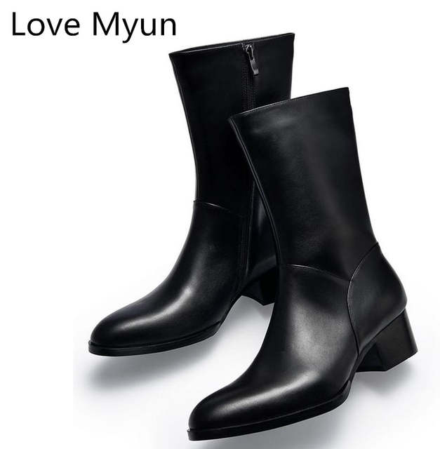 US $98.5 28% OFF|Autumn winter new mens genuine leather boots high heels fashion pointed toe zip inside plush warm men boots cowboy military boot in