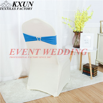 Cheap Lycra Band Spandex Chair Sash Tie Bow With Butterfly Buckle For Chair Cover Decorate Event Party Wedding