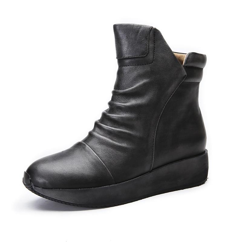 Pour Plissée Bottines Ronde Plates Gray 2018 Vintage Véritable dark Plate Chaussures Femmes Cuir Main Vallu À Orteils Marron Bottes La forme En AUq17xw7Y6