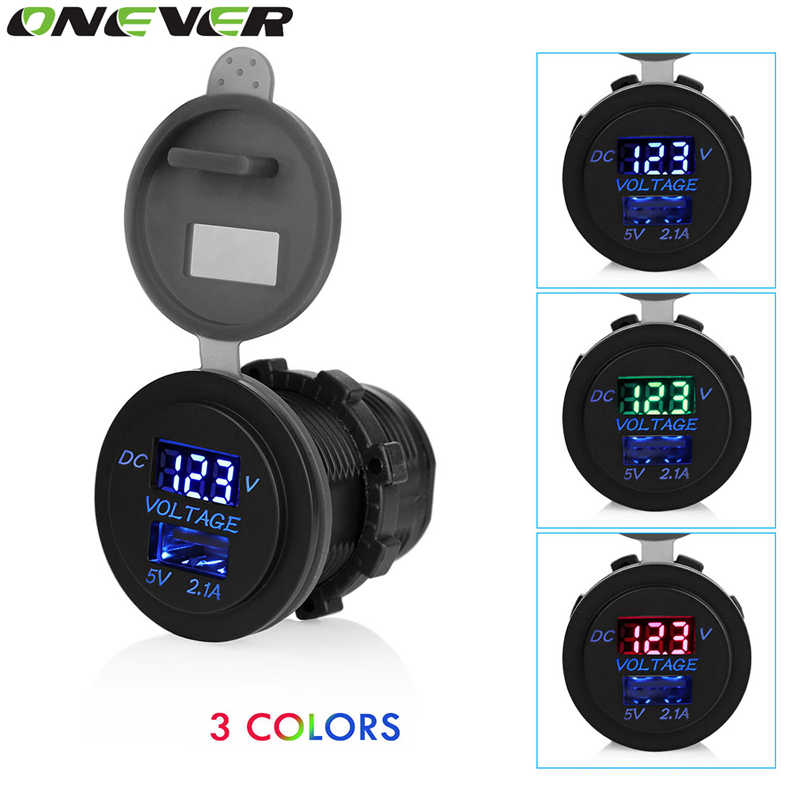 Onever 12-24V Dual USB Car Charger Power Outlet  Socket 2.1A for Car Boat Motorcycle SUV ATV Tractor with LED Digital Voltmeter