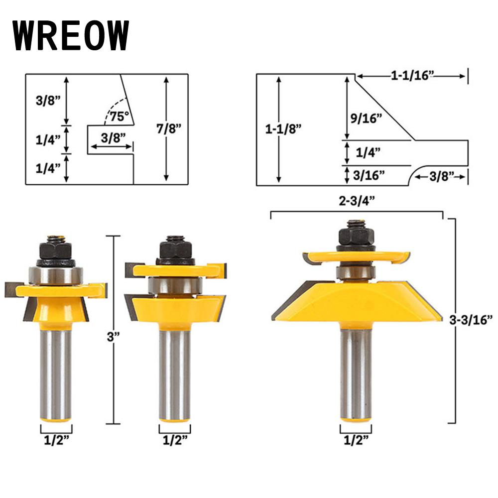 3pcs 12 Inch Shank Raised Panel Cabinet Door Router Bit Woodworking Tenon Cutter Tool 12.7mm Wood Cutting Tool