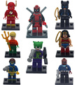 8 unids Marvel Super Heroes Los Vengadores Figuras Bloques Mini Deadpool Joker Catwoman Flash Juguete Compatible con Superhéroes