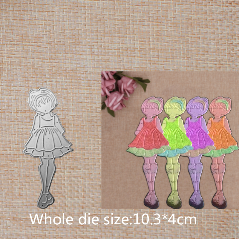 Cute short hair girl Metal Cutting Dies DIY Decorative Scrapbooking Craft Card Album Stencils 103 40 mm in Cutting Dies from Home Garden