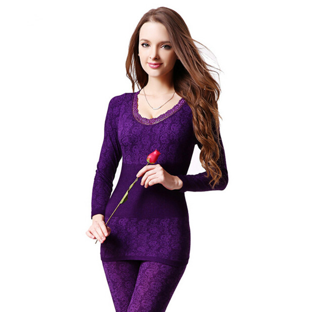 2018 New Fashion Seamless Breathable Warm Long Johns Ladies Slim Underwears  Sets bottoming Women tunic Winter 6ff5244ff87f