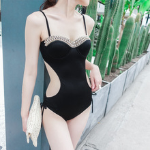 July 2018 new Sexy Rhinestone trim one-piece swimsuit Push Up bandage Low Waist hollow Thong Swimwear Halter women bathing suits