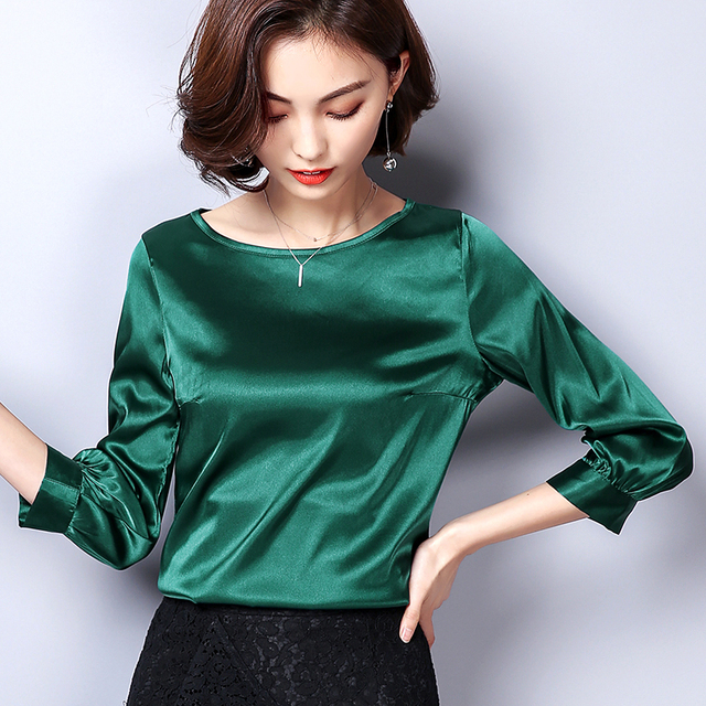 8c715ffc6d0569 Women Blouses Casual OL Silk Blouse Autumn Loose Basic Satin Shirt Work  Wear Blusas Feminina Tops Shirts Plus Size XXXL Pink Red