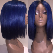 613 Blonde 13×6 Lace Front Wig Blue Colored Remy Red Human Hair Full Ends Transparent Frontal Closure Swiss Lace Short Bob Wigs