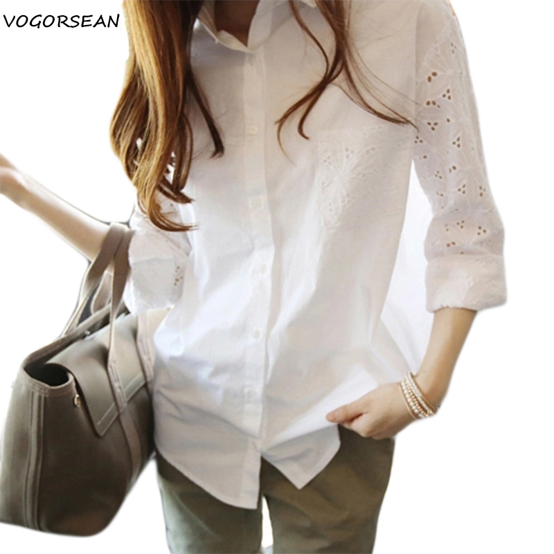 VogorSean Cotton Women   Blouse     Shirt   2018 High Quality New Large size Long sleeve Lace Hollowing Leisure Office Womens White Tops