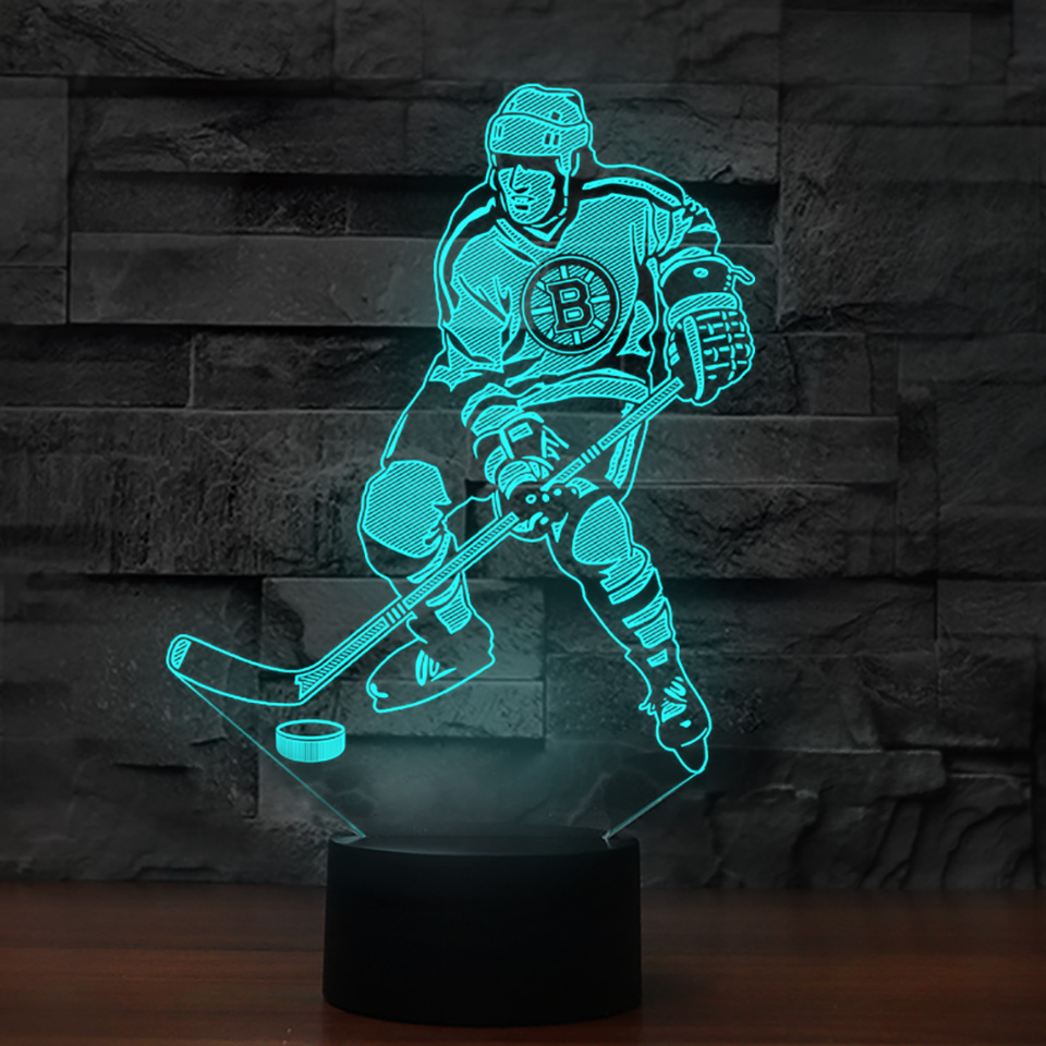 3D Visual Led Ice Hockey Player Modelling Night Light For Kid Touch Button Usb Desk Lamp Baby Bedroom Sleep Light Fixture Decor 3 styles novelty lighting hockey player ice player 3d led night light touch usb lamp holiday gifts table desk light for kids