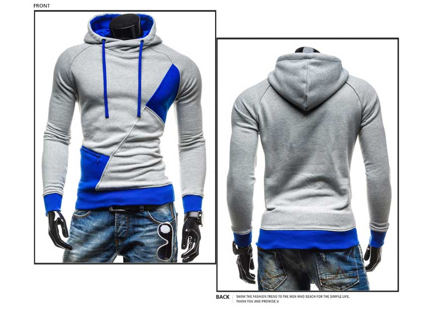 spring and autumn new hoodie men's matching color patchwork jumper Korean version of men's coat 36