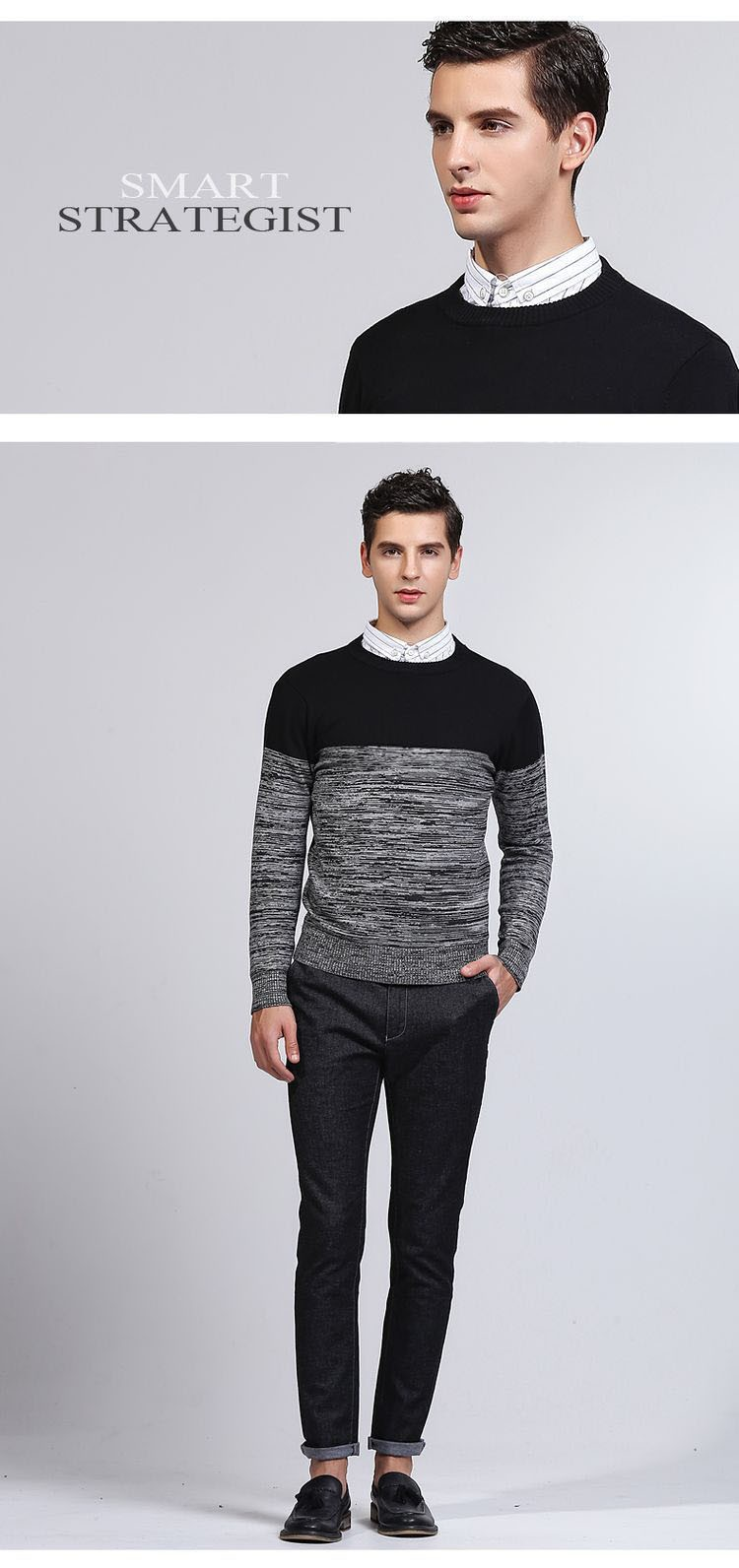 Aolamegs Men Sweater Fashion Hit Color Knitted Pullovers 2017 Spring New Men\'s Classic Casual Slim Fit Knitting Sweter Hombre (2)