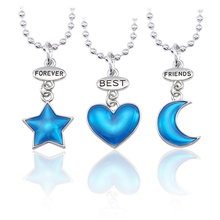 New Fashion Best Friend Forever Ladies Necklace BFF Pendant Jewelry Blue Star Love Moon Chain Holiday Gift