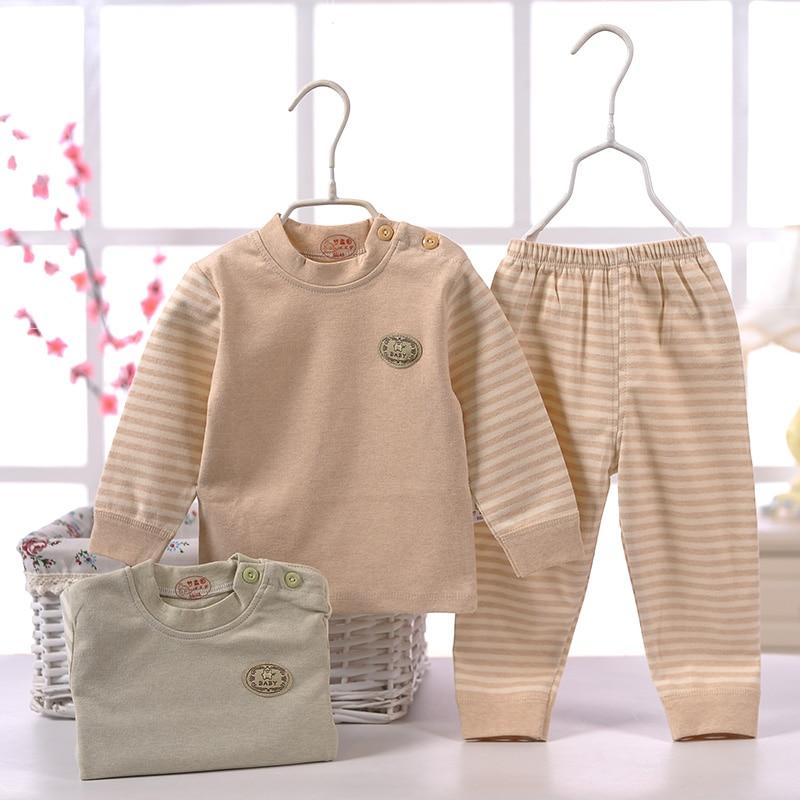 (2pcs/set)Newborn Baby 0-12M Boy Girl warm Clothes set Natural colored Cotton shoulder buttons winter Underwear baby set 50