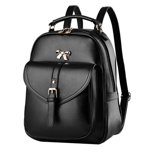 2017 New Fashion Women Black Leather Backpack Brand Quality Girls Travel School Bags Bow Knitting Woven Backpacks mochila XA679H