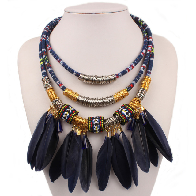 0e3a69e69bd14 US $18.97 |Ethnic Necklace Feather Tassels Crystal Vintage Multi layer  Necklaces for women Tassel Bohemian Jewelry, 8 Colors-in Choker Necklaces  from ...