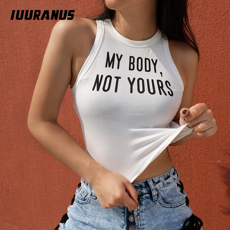 IUURANUS 2019 Summer Tank Tops Women Letter Print White Sleeveless Slim Sporting Fitness Vest Casual Crop Top camis Short Tops in Tank Tops from Women 39 s Clothing