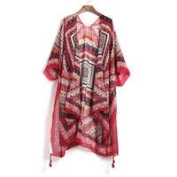 2017 Women Vintage Floral Blouse Kimono Mujer Summer Beach Kimono Long Cardigan Feminino Red Chic Boho