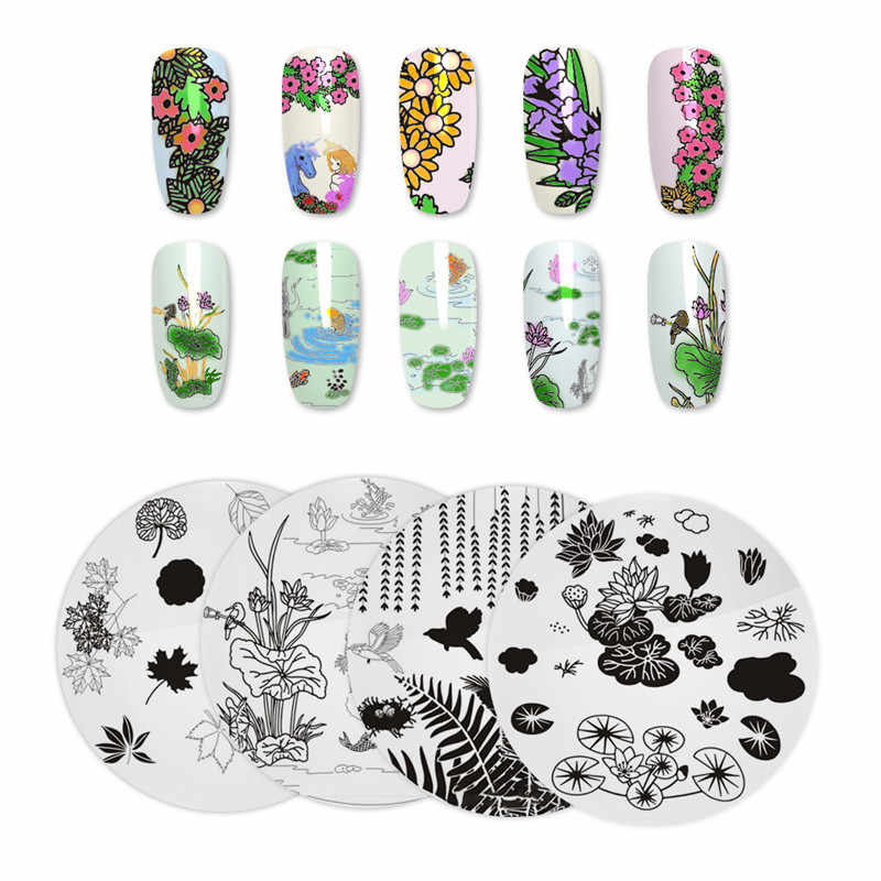 Manicurara Round Nail Stamping Plate Flower Leaf Tree Dress Model Nail Template Manicure Nail Art DIY Stamp Plate Stencil