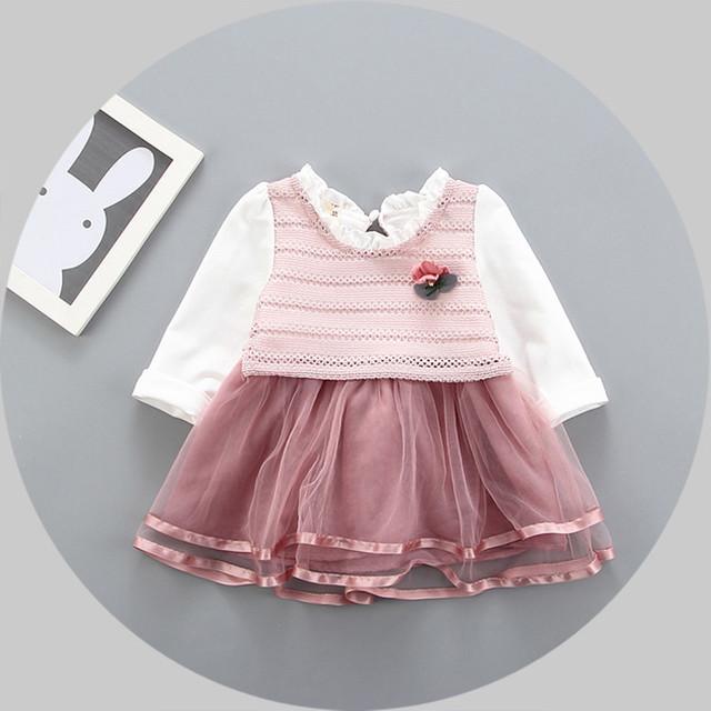 2017 nueva primavera casual manga larga de los niños de los bebés niños knit top mesh patchwork dress vestidos s4741