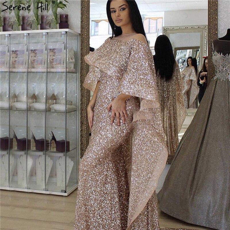 Dubai Rose Gold Long Cloak Evening Dresses 2019 Sequined Sparkle Luxury Mermaid Evening Gowns Serene Hill LA60937