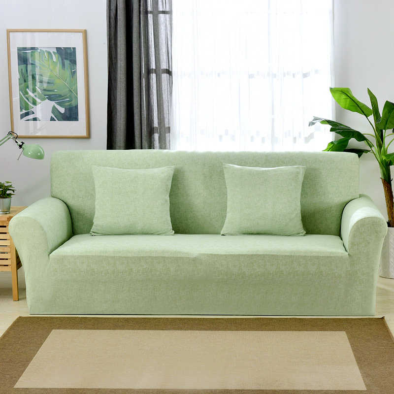 Light Green Nordic Fresh Style European Stretch Sofa Cover for Living Room  1/2/3/4 Seat Couch Cover L shape Sectional Sofa Cover