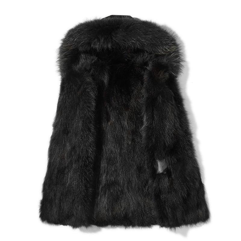 Ayunsue Heren Winter 2018 Black Waschbären Pelz My776 Echt Jacke Warme Natürliche Waschbär Kleidung Männer Parka Kragen Winterjas rw4qnHr6pA