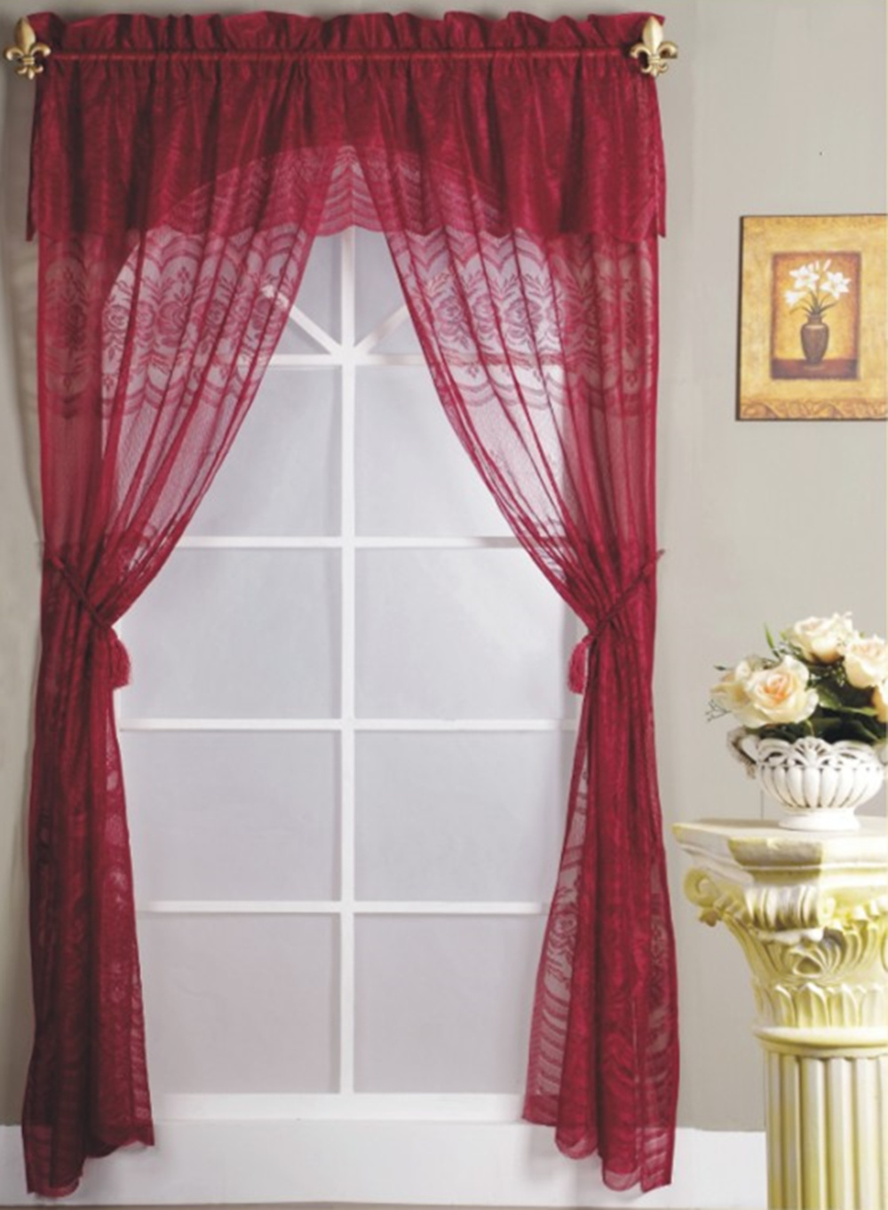 Polyester Lace Curtain With Valance And Rod Pocket