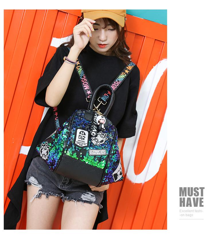 backpack women Fashion Women Bling Shiny Sequins Sparkling Shoulder Bags Larger Capacity Drawstring Bag backpack 78