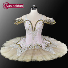 Adult Beige Ballet Tutu Professional Stage Danewear Pink And Classical Performance Costumes Customized SD0028