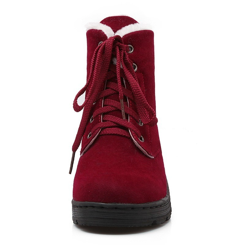 Image 3 - Lace Up Snow Boots Women Winter Short Boots Ladies Mid Square Heels A278 Fashion Warm Shoes Woman Red Black Apricot Ankle Boots-in Ankle Boots from Shoes