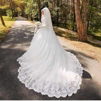 Vinca sunny Muslim Wedding Dresses Long Sleeve De Noiva Robe De Mariage Arabic Luxury Long Trail Lace Bridal Dress Wedding Gown - DISCOUNT ITEM  26% OFF All Category