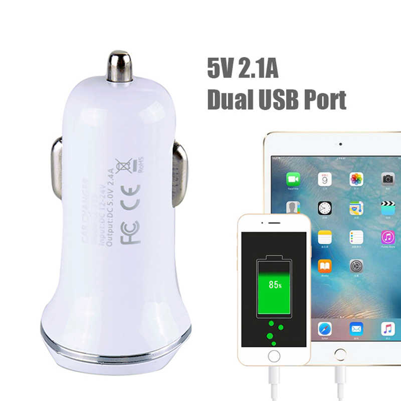 Universal 2.1A 5V Dual USB Port Car Charger for Iphone Samsung Xiaomi Huawei Ipad Tablets Auto Mobile Phone Car Charger