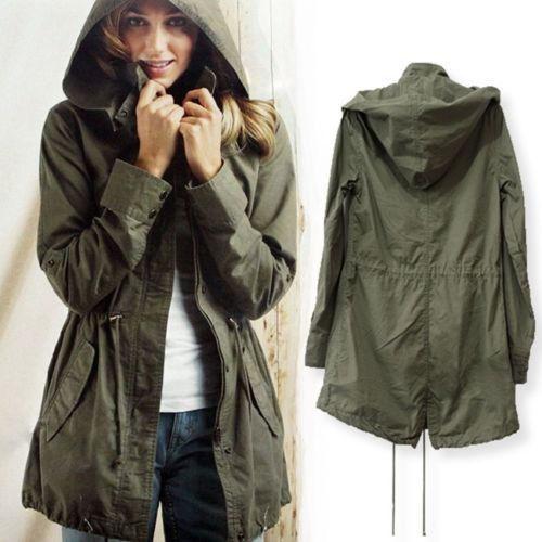 Женщины Шнурок Талии С Капюшоном Армия Зеленый Пальто Ветра Утилита Куртка анорак