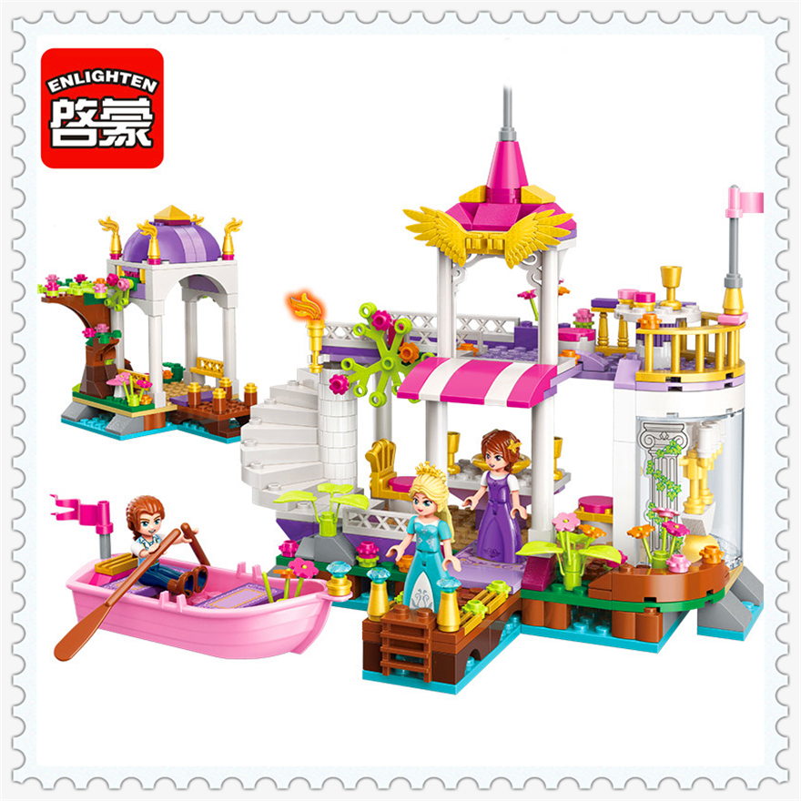 394Pcs Girl Friends Princess Wonderland Lake Garden Building Block Toys ENLIGHTEN 2607 Figure Gift For Children Compatible Legoe princess ponies 6 best friends for ever