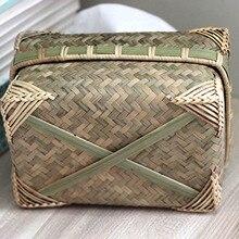Ручной работы плетеный тканевый ящик бамбук винтажный ручной weaved экологичный ящик для хранения H99F