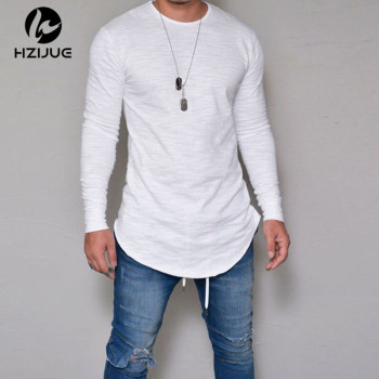 Summer Autumn Fashion Casual Slim Elastic Soft Solid Long Sleeve Men T Shirt