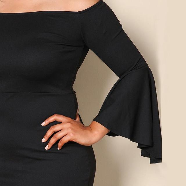 Vintage Plus Size Tunic Dress Women Black Off The Shoulder Flare Long Sleeve Big Sizes Dresses