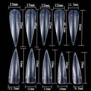 Image 3 - 10/100 個の爪サロン小剣ロング偽偽の釘のヒントマニキュア人工ホワイト/クリア/ナチュラルフルのヒント