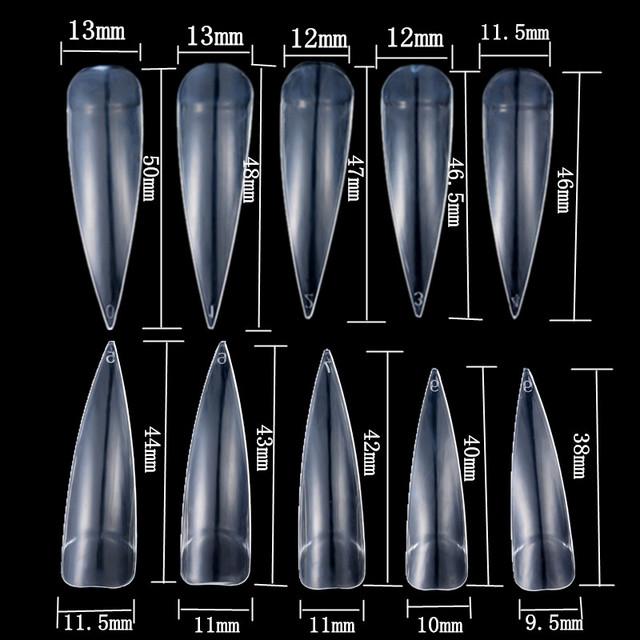 100Pcs/Lot Nails Salon Stiletto Long False Fake Nails Tips Manicure Artificial White/ Clear /Natural Full Cover Tips